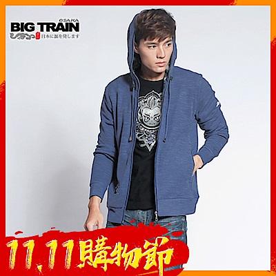 BIG-TRAIN-竹節羅紋出芽連帽外套-男-灰藍