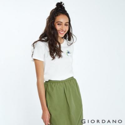 GIORDANO 女裝DEAR WORLD 系列純棉印花口袋T恤-01 皎雪