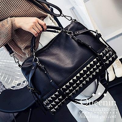 DF Queenin日韓 - 歐美時尚龐克風鉚釘單肩手提包
