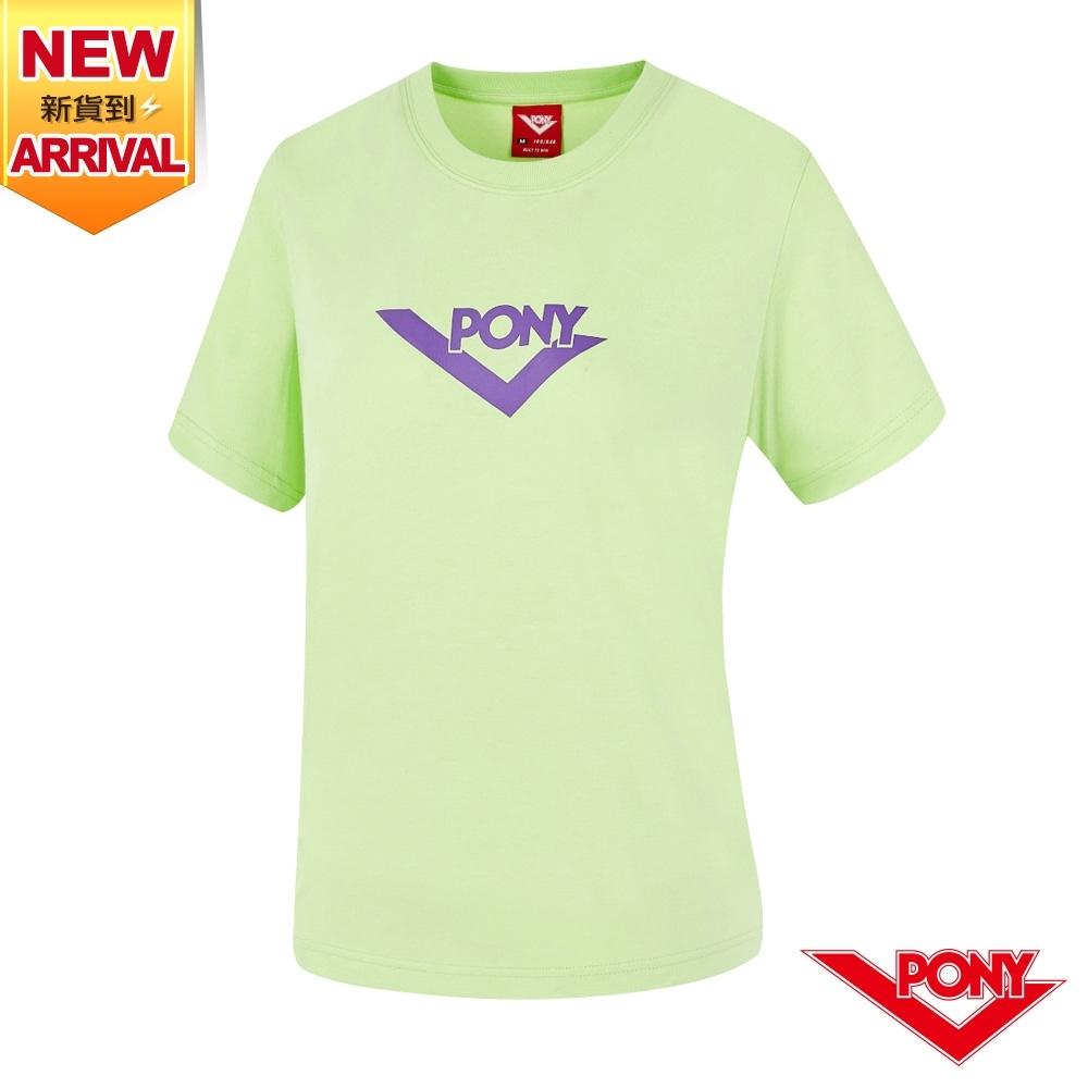 【PONY】LOGO短袖T恤上衣 女款-綠色