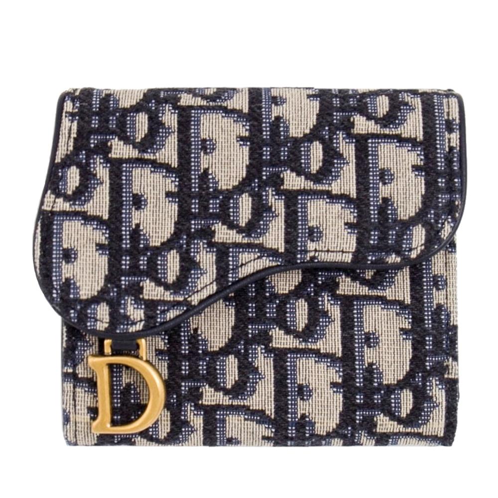 [限量包裝]DIOR 老花 復古金屬 三摺短夾 (藍色) Saddle Oblique Lotus Wallet
