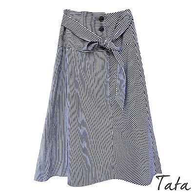 直紋排釦繫帶裙(附綁帶) TATA