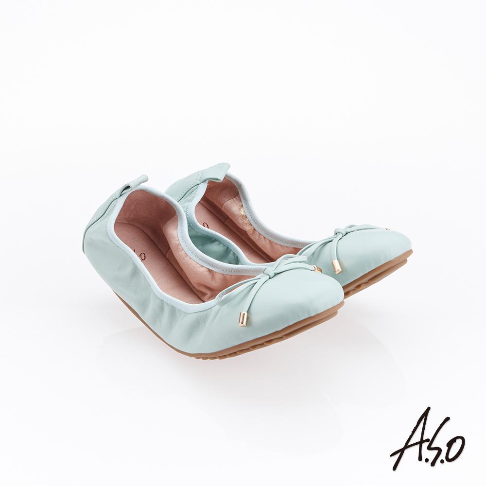 A.S.O 輕履鞋 綁帶軟羊皮可折疊娃娃鞋-蒂芬妮綠
