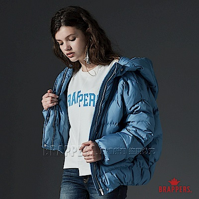 BRAPPERS 連帽短版羽絨外套-男女適穿-淺藍