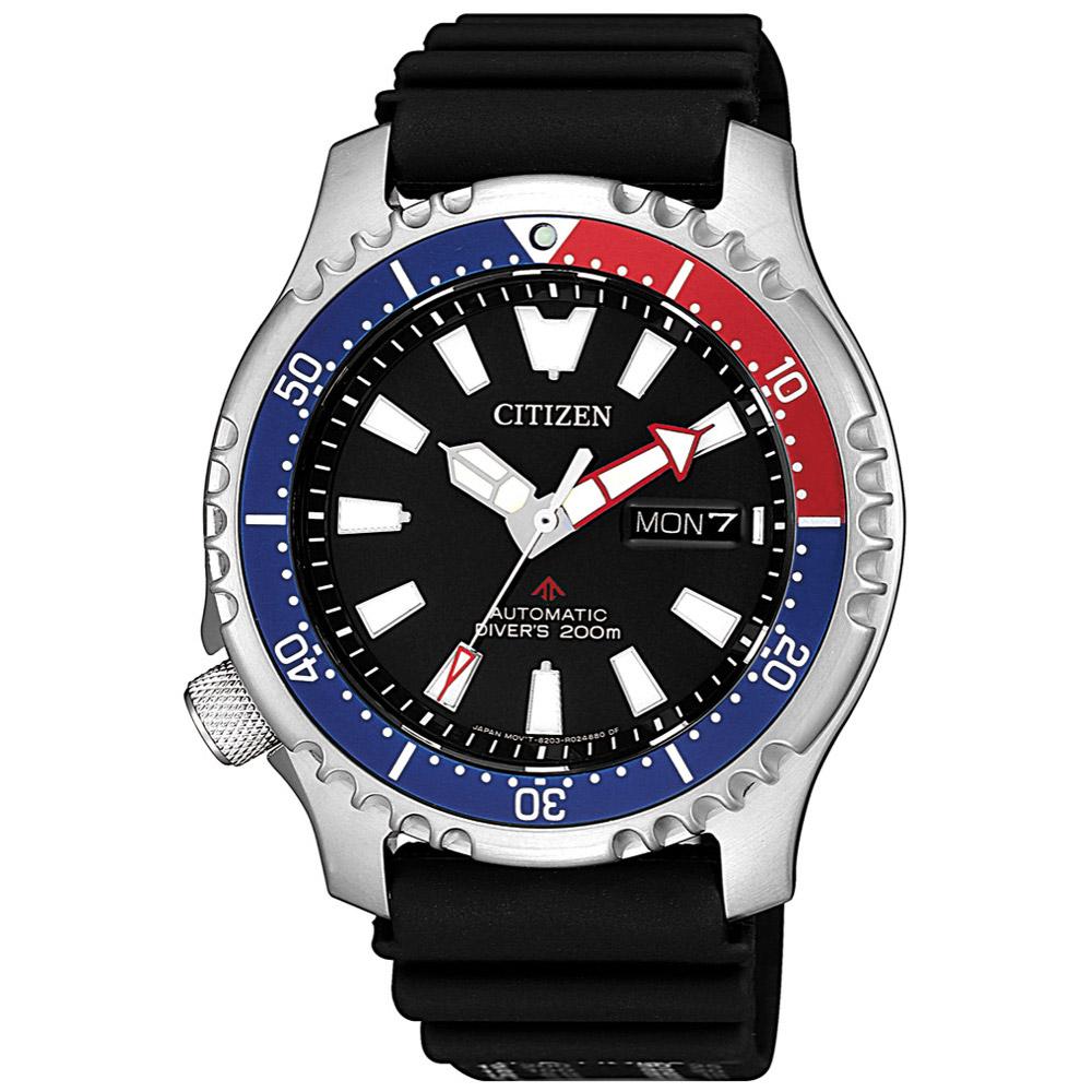CITIZEN星辰 可樂河豚限量機械潛水腕錶(NY0088-11E)-黑/42mm