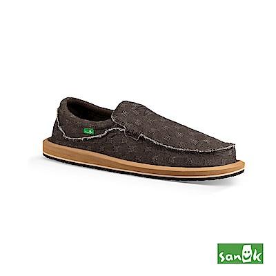 SANUK-CHIBA WAFFLE格紋編織寬版懶人鞋-男款(咖啡色)