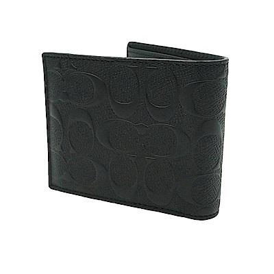 COACH 經典浮雕花紋男用短夾附可拆式證件夾(黑色)