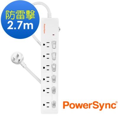 PowerSync 群加 3孔6開6插防雷擊雙色延長線2.7米(TPS366GN9027)