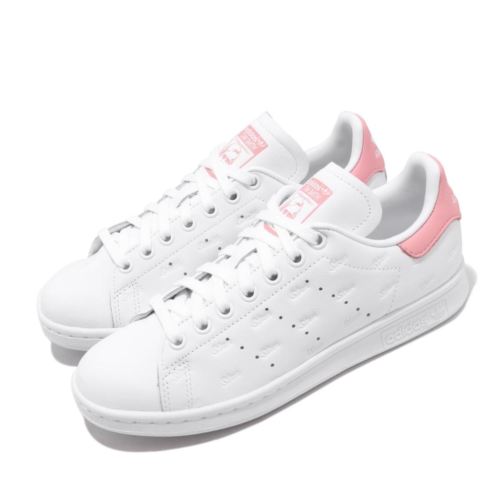 adidas 休閒鞋 Stan Smith 復古 低筒 女鞋 愛迪達 三葉草 皮革鞋面 基本款 史密斯 白 粉 EF6865