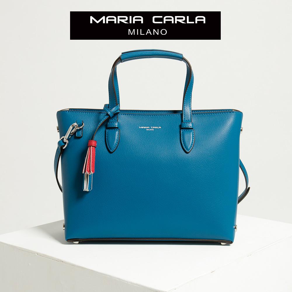 【Maria Carla】縹色_拉鏈式手提側背托特包(L)_日光休閒_二層牛皮