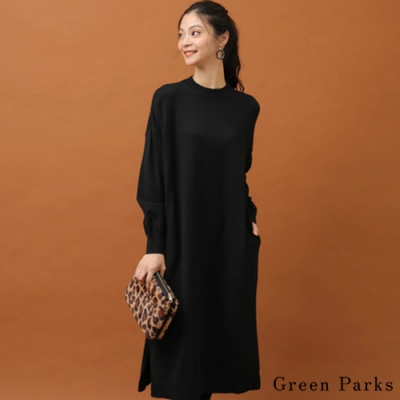 Green Parks 下擺開叉高領針織連身洋裝