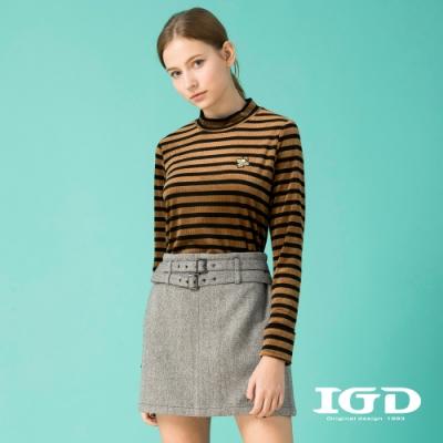 【IGD 英格麗】條紋蜜蜂刺繡小立領坑條上衣