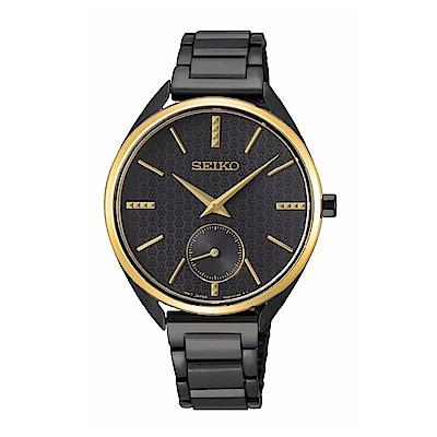 SEIKO精工 50周年紀念款小秒針黑鋼腕錶6G28-00Z0K(SRKZ49P1)