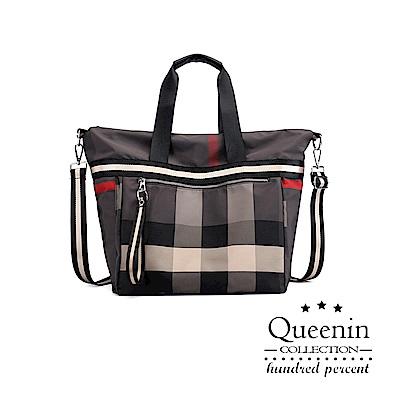DF Queenin日韓 - 優雅經典格紋多功能輕休閒肩背包-共2色