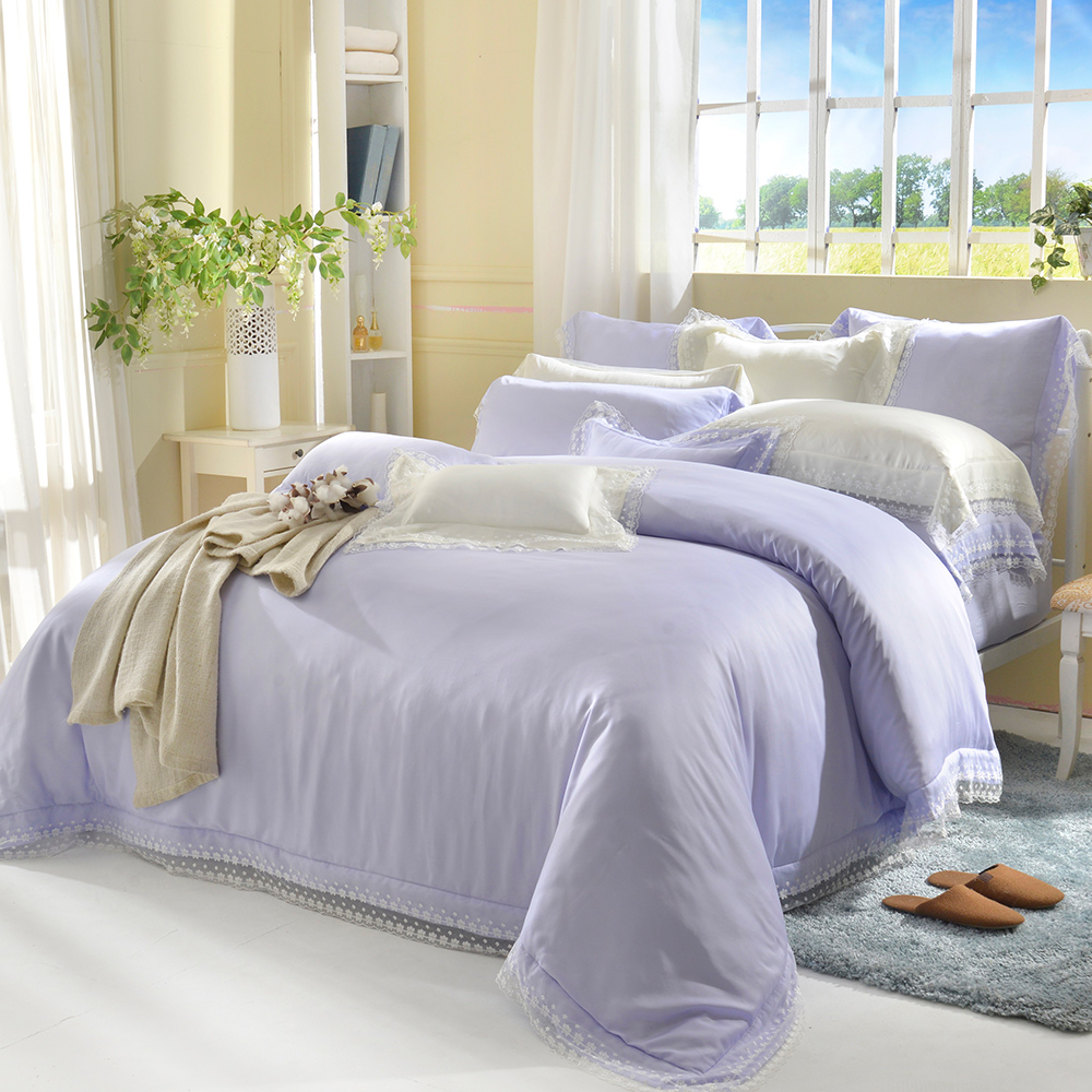 義大利La Belle 雙人天絲蕾絲防蹣抗菌吸濕排汗兩用被床包組-愛莉兒-粉紫