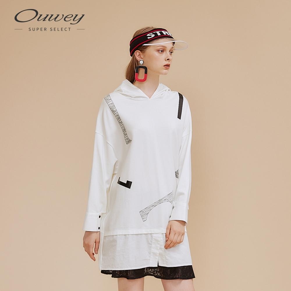 OUWEY歐薇 趣味幾何方塊印花帽長版洋裝(白)