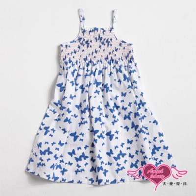 【天使霓裳-童裝】戀戀蝴蝶 可愛無袖細肩帶小洋裝(白藍)