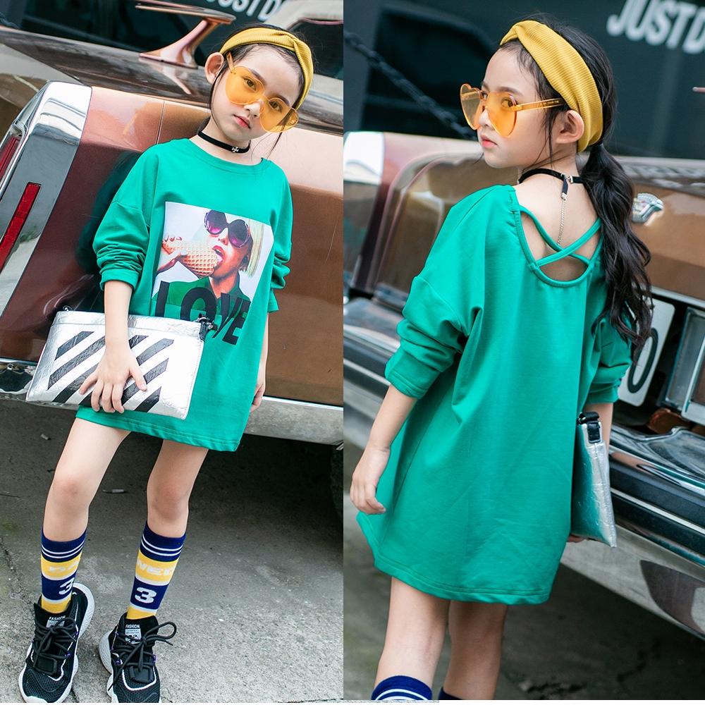 小衣衫童裝  中大童後背交叉海報印刷綠色長袖T恤1070848