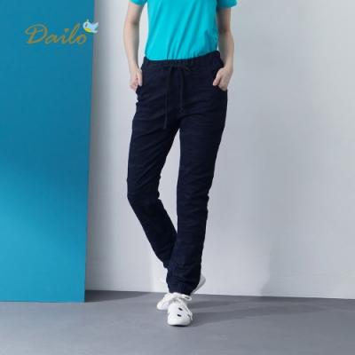 【Dailo】迷彩鬆緊綁帶-長褲(深藍色)