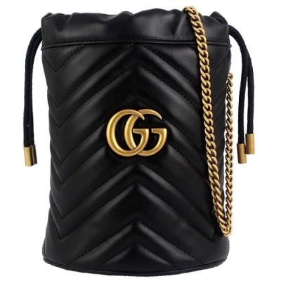 GUCCI Marmont 黑色車縫皮革雙G標誌小型水桶包