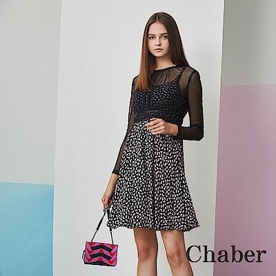 Chaber巧帛 印花假兩件拼接長袖黑洋裝