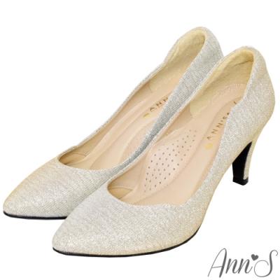 Ann'S低調奢華-絕美弧線閃耀跟鞋 -金(版型偏小)