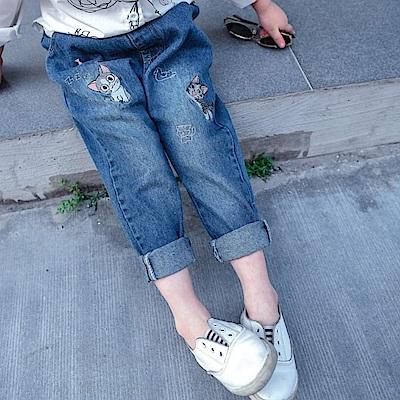 小衣衫童裝  兒童電繡淘氣甜甜貓牛仔褲長褲1080413