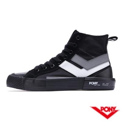 【PONY】Shooter系列高筒帆布鞋-女款-雙勾黑-03W1SH12BK