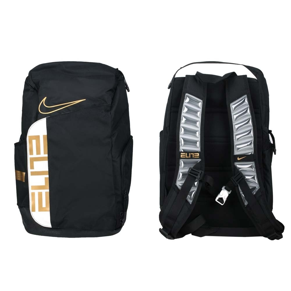NIKE 大型氣墊背帶後背包-雙肩包 旅行包 肩背包 筆電包 AIR MAX BA6164-013 黑白金