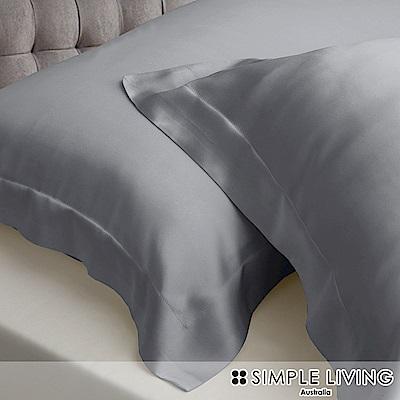 澳洲Simple Living 雙人600織台灣製天絲床包枕套組(爵士灰)