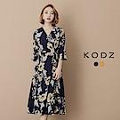東京著衣-KODZ 花布氣質七分袖罩衫洋裝-S.M.L(共二色)