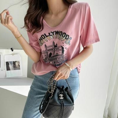 La BellezaU領美式好萊塢英文字印花棉質T恤