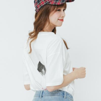 H:CONNECT 韓國品牌 女裝-黑白圖印字T-shirt-白