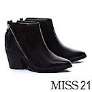 短靴 MISS 21 俐落時髦側拉鍊拼接全真皮尖頭粗跟短靴-黑