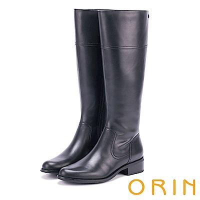 ORIN 時髦簡約 經典素面牛皮粗低跟長筒靴-黑色