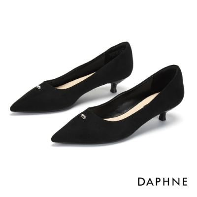 達芙妮DAPHNE 跟鞋-鑽飾V形剪裁尖頭低跟鞋-黑