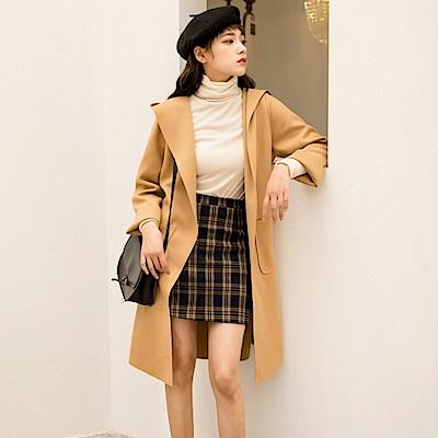 La Belleza帶帽毛呢料雙口袋車縫反線不收邊附綁帶開衫長版外套