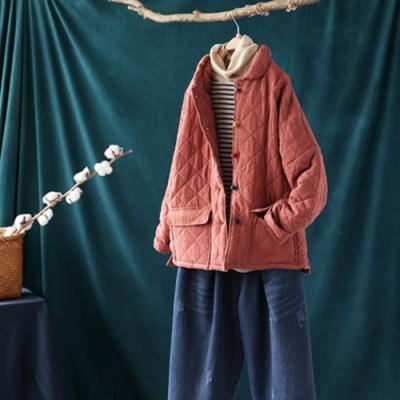彩色盤扣菱格絎線夾棉棉服寬鬆棉襖外套-設計所在