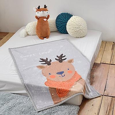 義大利Fancy Belle 快樂麋鹿 雙層雪芙絨兒童毯100*140CM