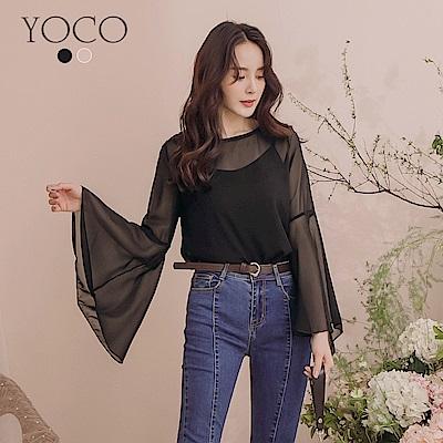 東京著衣-YOCO 唯美性感兩件式透膚喇叭袖上衣-S.M.L(共兩色)