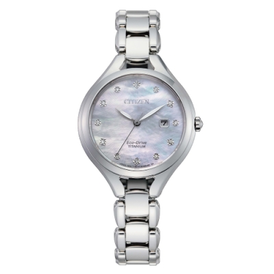 CITIZEN 星辰LADY光動能晶鑽鈦金錶EW2560-86D-銀/30mm