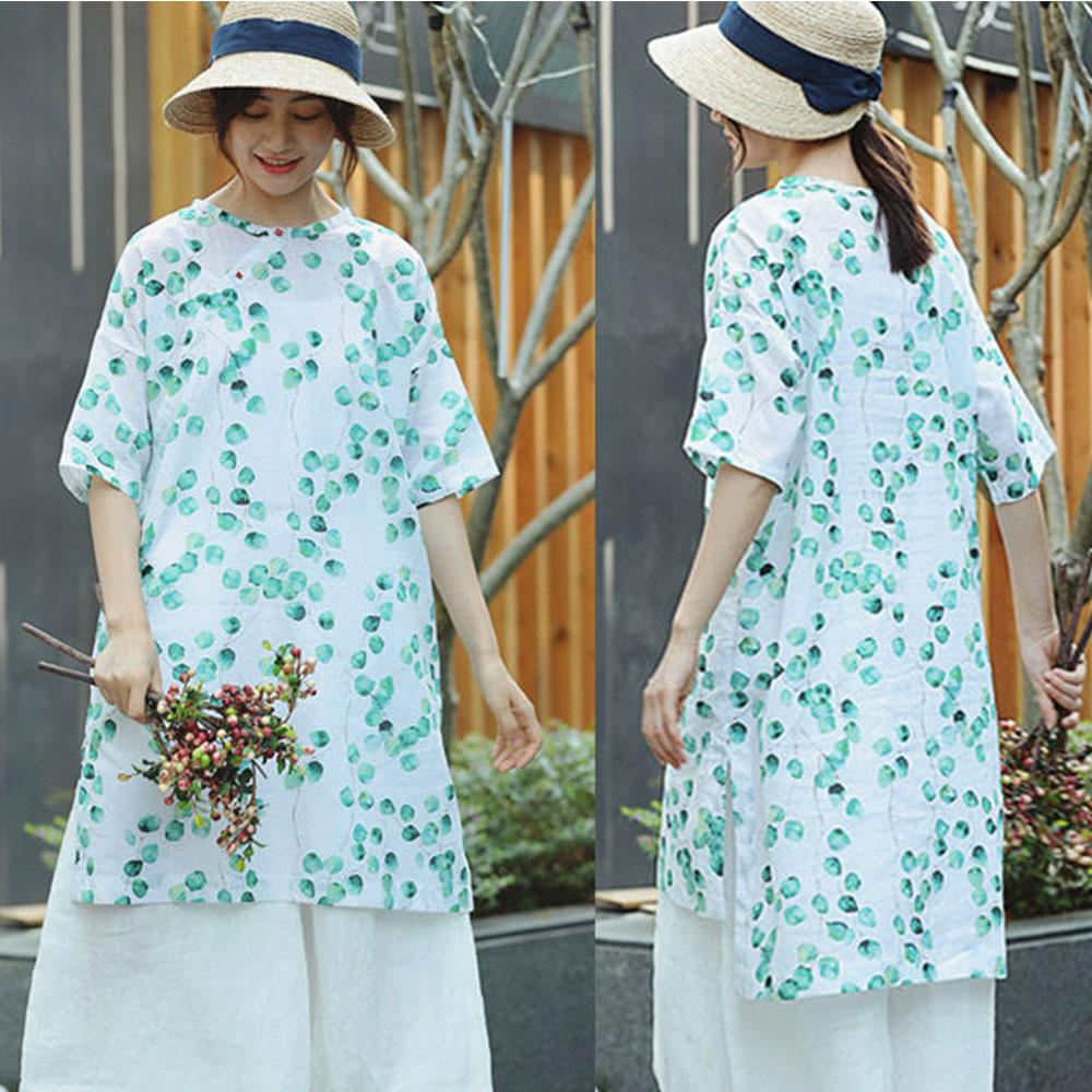 洋裝-精細印花苧麻中長版文藝襯衫短袖/設計所在 S8498