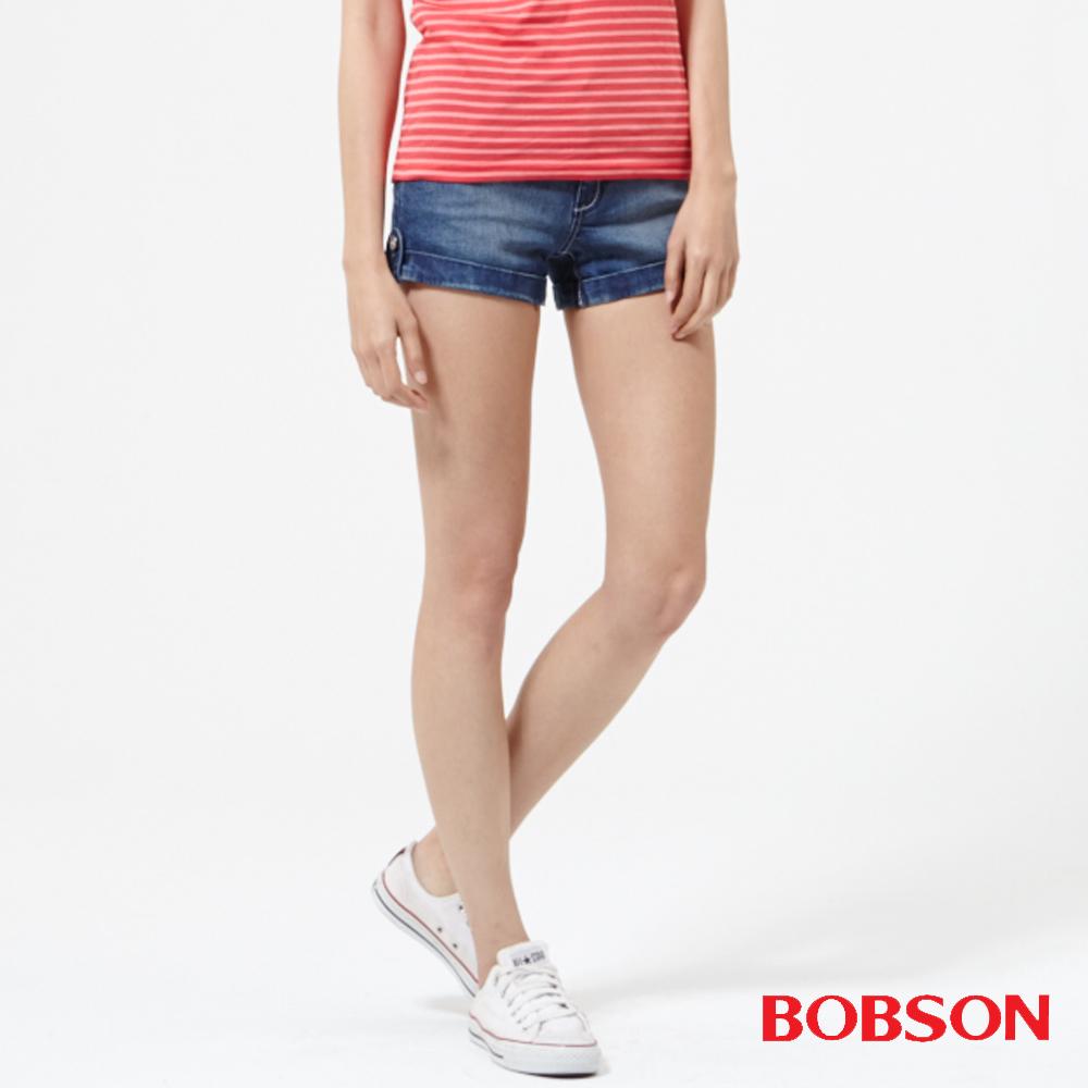 BOBSON 女款低腰高腰頭牛仔短褲