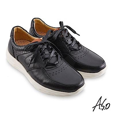 A.S.O機能休閒 超能耐II代運動風綁帶休閒鞋-黑