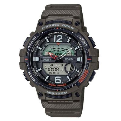 CASIO 海釣愛好者概念設計指針雙顯錶-墨綠 (WSC-1250H-3A)/48.6mm