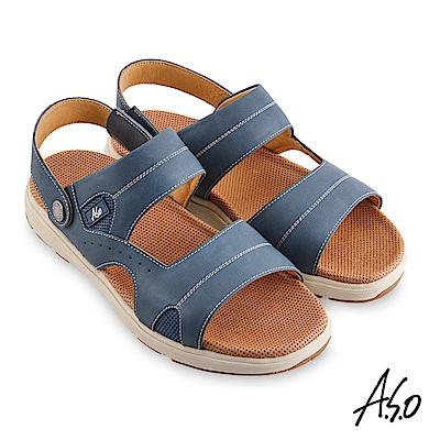 A.S.O 機能休閒 輕量樂活涼拖雙穿男涼鞋-深藍