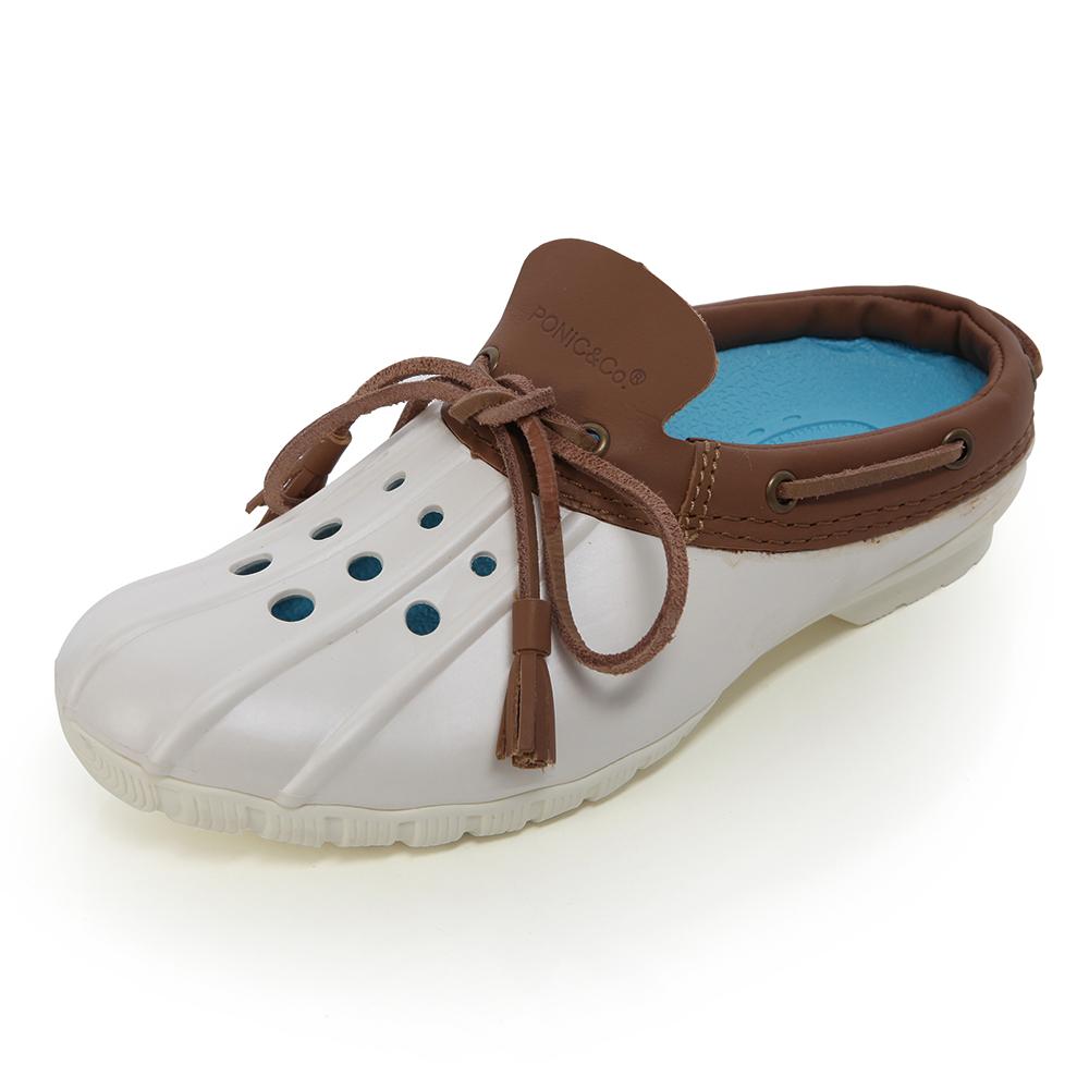 (女)Ponic&Co美國加州環保防水洞洞半包式拖鞋-灰白色