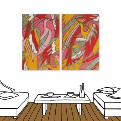 24mama掛畫 二聯式 現代無框畫掛畫 40x60cm-日式花布系列1