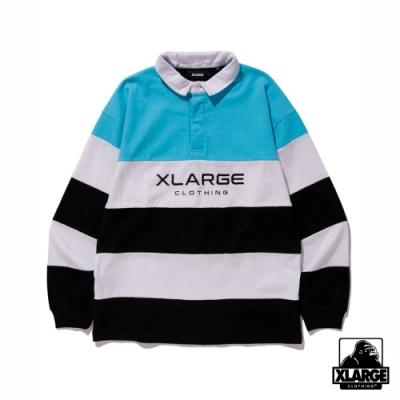 XLARGE PANELED RUGBY SHIRT長袖襯衫-藍