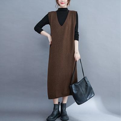 【KISSDIAMOND】中長款V領馬甲針織洋裝(KDD-8770)